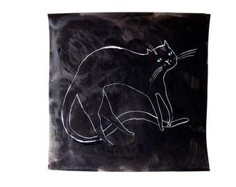 Catty Portrait Full Body / Gouache Original / gouache painting
