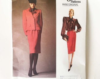 Vintage Givenchy Sewing Pattern 1980s Vogue Paris Original 1925 Jacket Pussy Bow Blouse and Skirt 32.5 Bust Size 10 Vintage