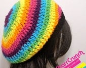 ReOpening Sale 25% Off Slouchy Beret Tam Crochet Hat in Rainbow Stripes