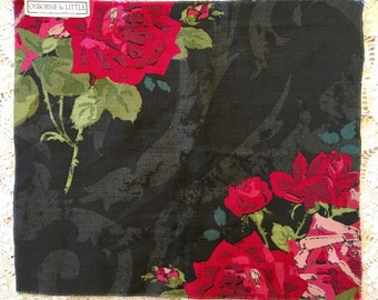 Rosa Alba Fabric - Linen Cotton Blend  - Home Decor Weight - Osborne Little - Nina Campbell -Red Black Roses