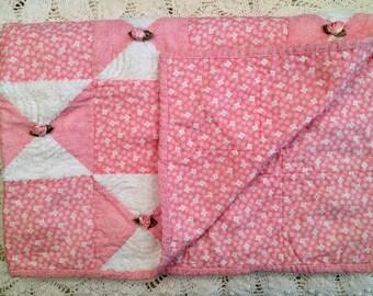 Pink Rosebud Chenille Blanket - Patchwork Quilt - Baby Crib - Small Lap Blanket