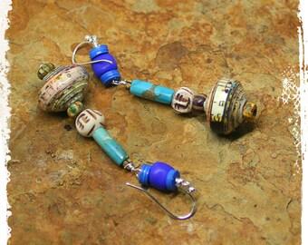 Bohemian tribal earrings, Hippie earrings gift for her, Turquoise cobalt tribal earrings, Boho chic earrings for women, Mixed media earrings