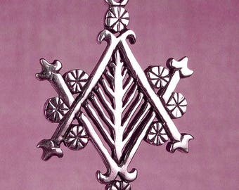 AYIZAN VELEKETE VEVE - Solid Cast Silver Voodoo Veve Lwa Vodou Charm Pendant in Sterling Silver With 16 or 18 Inch Flat Cable Chain