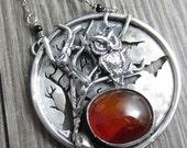 VDAY SALE Harvest Moon Necklace - Sterling Silver Carnelian Halloween Scene