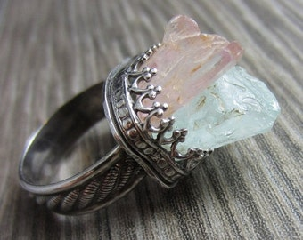 HOLIDAY SALE Raw Kunzite and Aquamarine Ring in Sterling Silver
