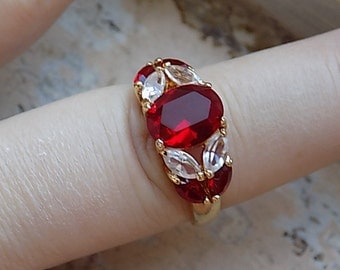 FREE SHIPPING Vintage Red Rhinestone Cocktail Ring - Size 9.5