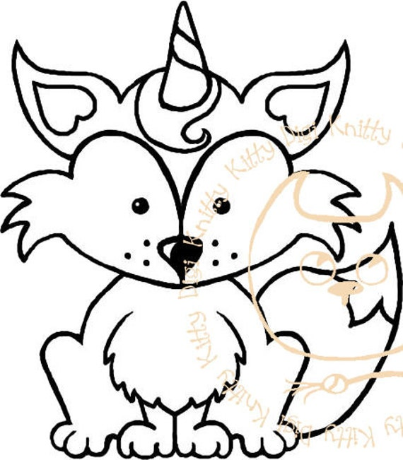 Digi Stamp Instant Download. The Foxicorn - Knitty Kitty Digis No.46