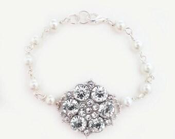 Rhinestone Bridal Bracelet, Pearl and Crystal Bracelet, Wedding Bracelet, Vintage Style, Art Deco Wedding, Bride Jewelry, CHLOE
