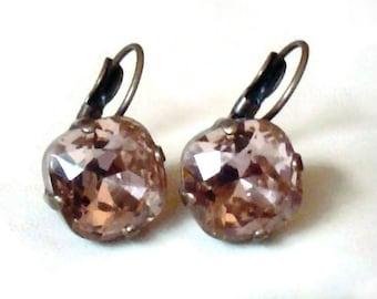 Swarovski crystal 12mm square fancy stone golf earrings Vintage rose,antique bronze pl.,sweet pink romatic colour earrings