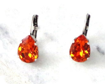 Swarovski crystal 14X10mm pear fancy stone drop earrings,leverback,brushed silver tone settings,NEW Tangerine bright orange colour