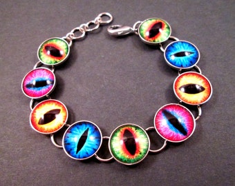 EYE See You, Eyeball Bracelet, Colorful and Silver Cabochon Bracelet, Chain Link Bracelet, FREE Shipping U.S.