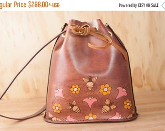 JANUARY SALE Leather Drawstring Backpack Tote - Handmade Bucket Bag in the Meadow Pattern with Bees and Honeycomb - Pink, orange and antique
