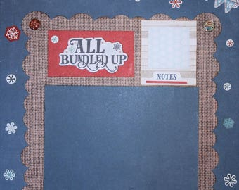 Winter - 12x12 Premade Scrapbook Page - Just add Photos