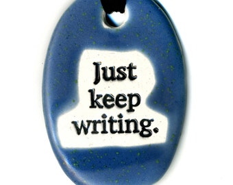 Just Keep Writing Ceramic Necklace in Deep Blue