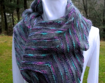 Wrap/stole/large scarf. Smoky Oysters is handknit of mohair, silk, wool and nylon. OOAK