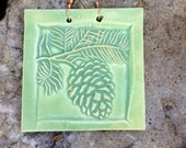 Rustic Pinecone Tile in Sage Green