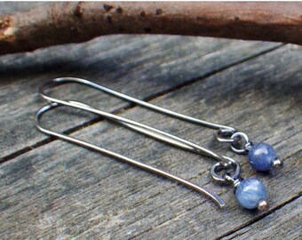 FLASH Sale 20% OFF Kyanite sterling silver long dangle earrings