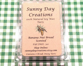 Banana Nut Bread Scented 100% Natural Soy Wax Break Away Tarts 3 oz