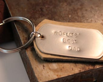 World's best dad dog tag keychain Father's Day gift