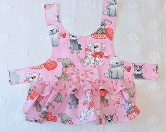 Dog Harness Dress  Dogs Hearts and Dots