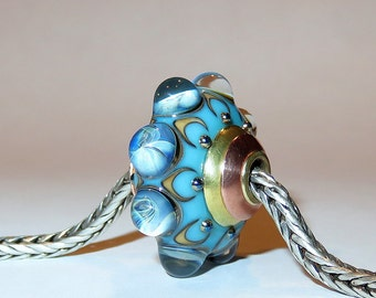 Luccicare Lampwork Bead - Ocean - FOCAL - Lined and Capped with Brass and Copper