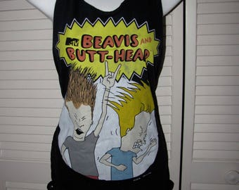 black BEAVIS and BUTT-HEAD cut sliced up shredded backless tank top t shirt one size fits most