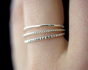 NEW Mixed Texture Sterling Silver stacking ring set, silver stack ring, ring set, sterling silver set, lined ring, twist ring, set of 3