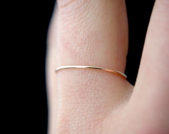 SOLID Rose Gold Ultra Thin Stacking ring, hammered stacking ring, 14k rose gold stacking ring, rose gold stackable ring, delicate ring
