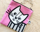 NEW retro cat purse / make up bag by Jane Foster - cat fabric pouch
