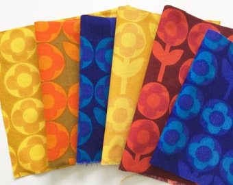 6x Vintage 60s Heals fabric squares called Verdure by Peter Hall - for small sewing projects Pack A