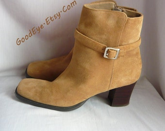 Vintage Zipper Ankle Boots Suede Leather size 8 M Eur 38.5 UK 5.5 Chunky HEEL Booties Square Toe