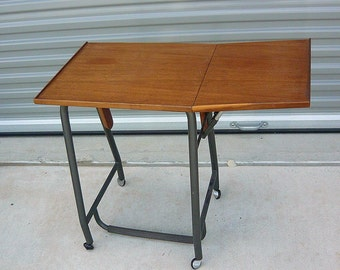 Vintage Danish Modern Typing Table / Teak Top Cart Rolling Casters /  Single Drop Leaf Desk / Made Denmark 1960s
