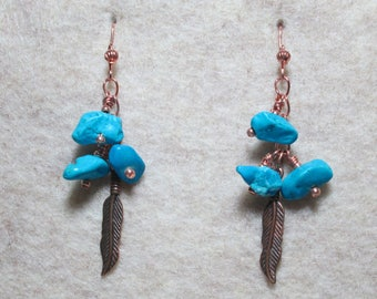 Copper and Turquoise Boho Earrings