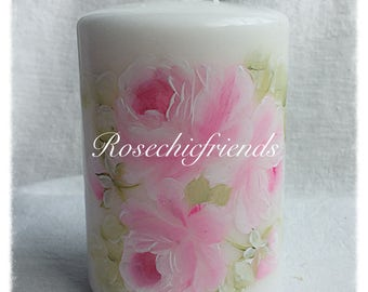 """PILLAR White Candle Shabby Chic 4"""" Hand Painted PINK Hand Painted Roses ECS sct schteam SVFTeam"""