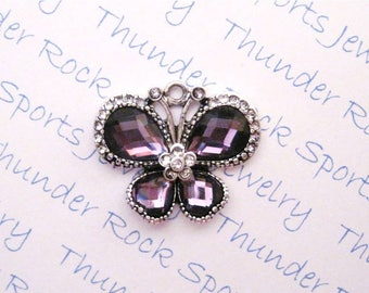 purple BUTTERFLY CHARMS, Antique Silver, crystals, PENDANTS, bugs, insects, butterflies