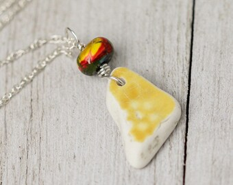 Yellow sea pottery necklace - Beach lover jewelry - Beach lover gift - Beach jewelry - Beach necklace - Yellow necklace - Valentines gift