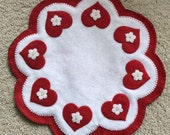 Wool Felt Hearts and Flowers Candle Mat Penny Rug