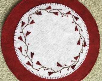 Wool Candle Mat Penny Rug with Vines and Hearts