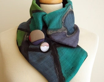 Hand painted Silk & Wool Neck Warmer-28x7 in. Ideas for her. Scarf neck warmer. Giveaways. Gifts for her. Gifts for him