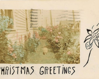 Vintage Photo 1932 RPPC Hand Color Christmas Greeting Cat in Garden Flowers