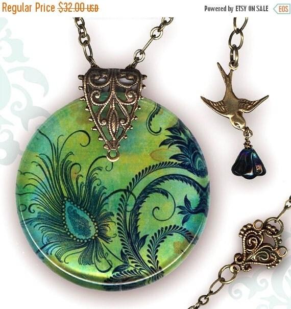Petite Peacock Necklace - Reversible Glass Art - Voyageur Petites - The Alhambra Collection -  Petite Peacock Feather Fleur