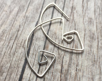 Spiral Silver Earrings Tribal Earrings Sterling Silver Earrings Geometric Jewelry Silver Jewelry Drop Earrings Hammered Earrings