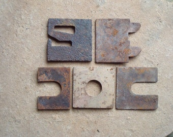 Rusty Textured Oxidized Metal Square Flat Pieces Found Objects - Recycled Supplies - Industrial Salvage