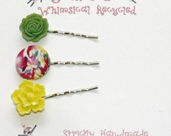 Bobby Pins Floral Assortment Watercolor Style Burgundy and Yellow