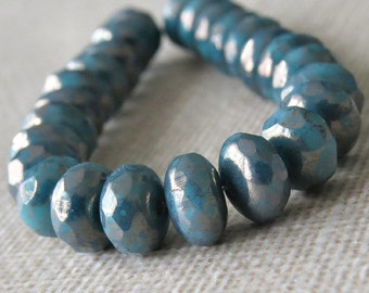 4x7mm Turquoise Moon Dust Faceted Czech Glass Rondelle : 12 pc Persian Turquoise Rondelle