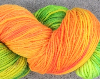 "Hand dyed sparkly sock yarn - colorway ""Citrus Sparkle"" - in stock, ready to ship"