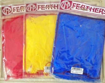 Feathers / Three Packages / Red / Yellow and Blue / Turkey Flats / Vintage Kid's Crafts