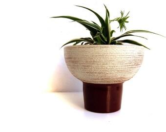 Vintage Mid Century Modern Pottery Ceramic MCM Pedestal Planter, Half Globe, Textured Bark Effect, Contemporary Dutch Pottery