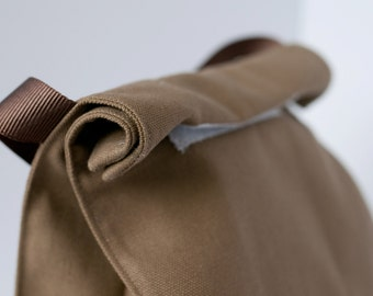 Reusable canvas lunch bag with handle-- looks like a brown paper lunch sack--FREE SHIPPING