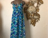 1960s dress maxi dress 60s dress psychedelic dress size medium vintage loungewear Mod maxi dress 1960s nightgown vintage lingerie
